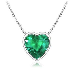 7 Ct Big Heart Shape Green Emerald Pendant Necklac